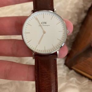 Silver DW brown leather woman's watch